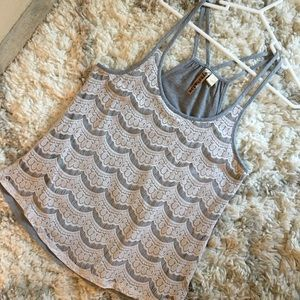 Tops - White lace design over grey racerback tank